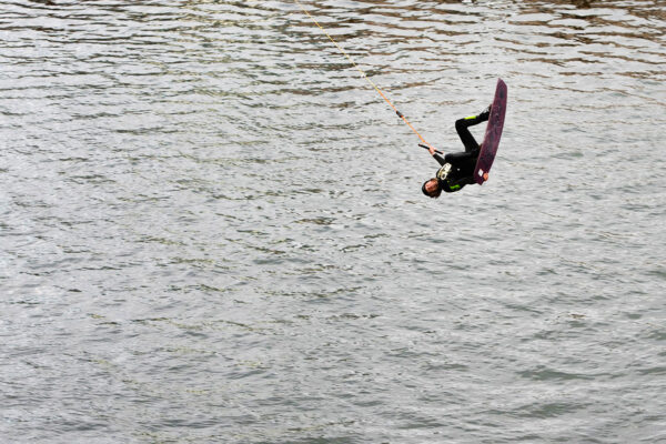 Troels Taulbjerg Kristensen, engineer consultant at FRECON, wakeboarding in Bassin 7 at Aarhus Ø